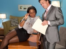 Black girl uses her awesome big floppy breasts to do an job interview – busty black woman
